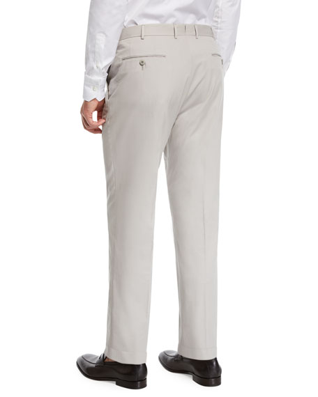 Ermenegildo Zegna Cotton Flat-Front Dress Pants