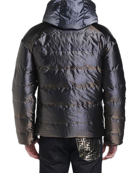 Fendi Men's Metallic Reversible Puffer Coat