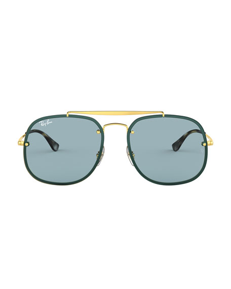 Image 2 of 2: Men's Square Metal Brow-Bar Sunglasses