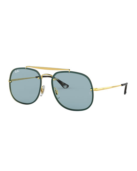 Image 1 of 2: Men's Square Metal Brow-Bar Sunglasses