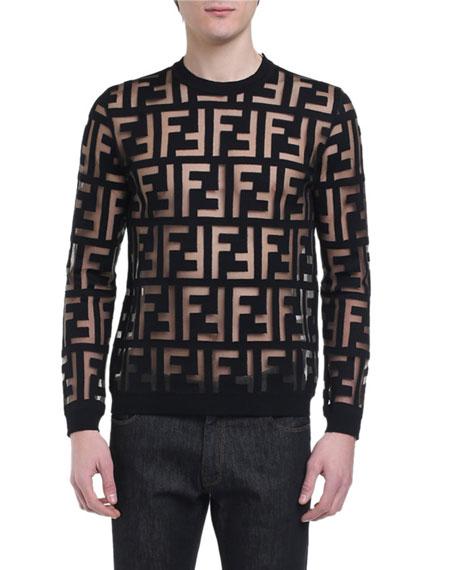 Fendi Men S Sheer Ff Crewneck Sweater Neiman Marcus