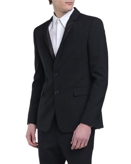 Fendi Men's FF Logo Organza-Lapel Jacket
