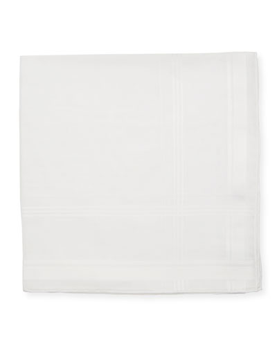 Satin-Trim Pocket Square  White