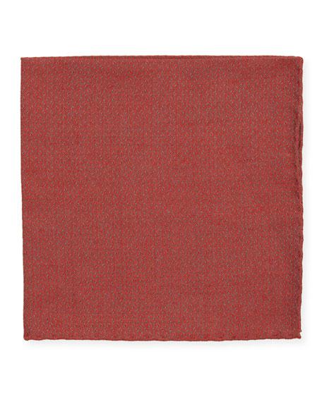 Simonnot Godard Jacquard Woven Pocket Square, Red