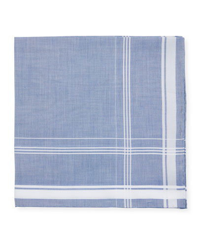 Satin-Edge Cotton Pocket Square  Blue/White