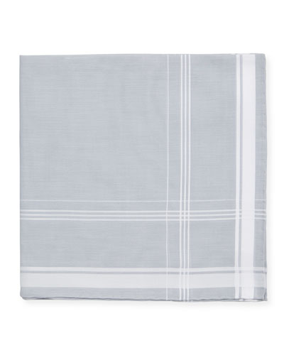 Satin-Edge Cotton Pocket Square  Gray/White
