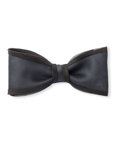 Twill Bow Tie with Organza Piping