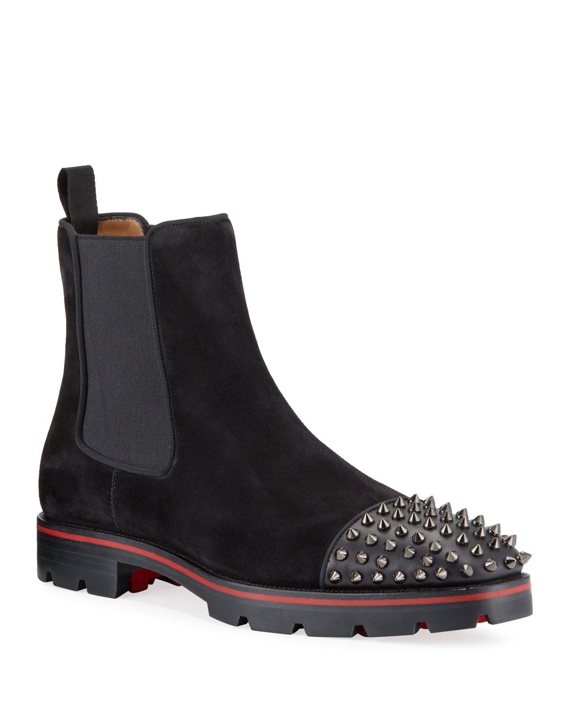 meet b8a54 08047 Men's Melon Spikes Red Sole Chelsea Boots