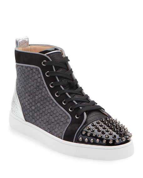 Christian Louboutin Sneakers MEN'S LOU SPIKES ORLATO MIXED-MEDIA SNEAKERS