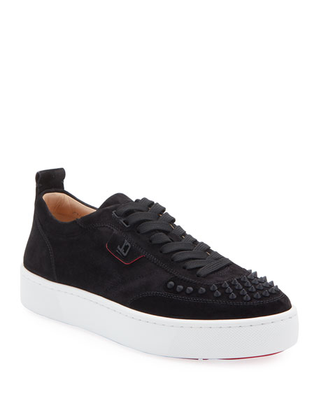 Christian Louboutin Men's Happy Rui Spiked Velour Platform Sneakers