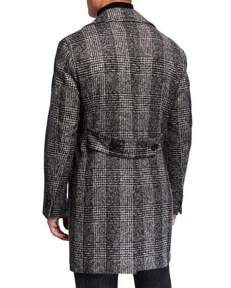 Lubiam Men's Plaid Wool Pea Coat