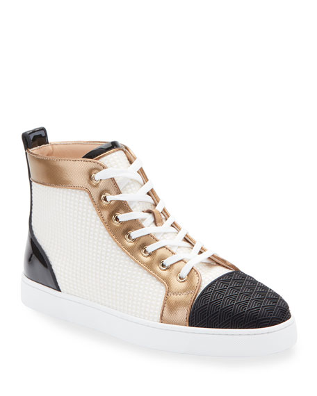 Christian Louboutin Men's Louis Colorblock Mid-Top Sneakers