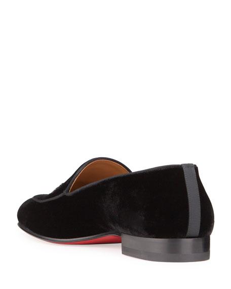 Christian Louboutin Men's Crest On the Nile Velvet Red Sole Loafers