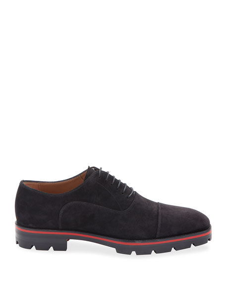 Christian Louboutin Men's Hubertus Velour Lug-Sole Oxford Shoes