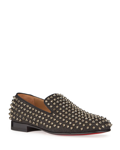 Men's Rollerboy Spiked Denim Red Sole Loafers