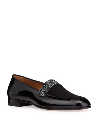 Men's Salva Notte Patent Leather Red Sole Strass Loafers