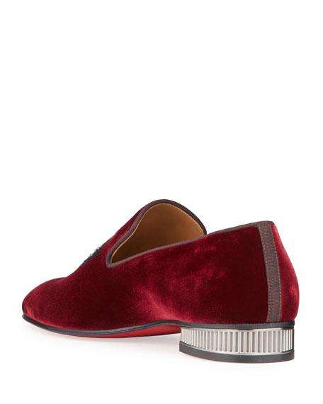 Christian Louboutin Men's Captain Colonnaki Velvet Crest Red Sole Loafers