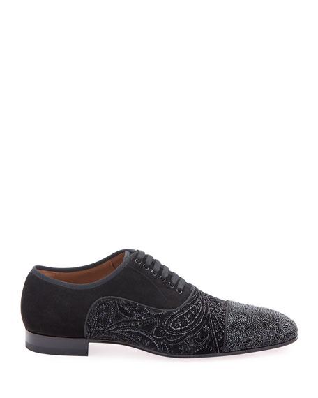 Christian Louboutin Men's Greggo Jeweled-Velvet Dress Shoes