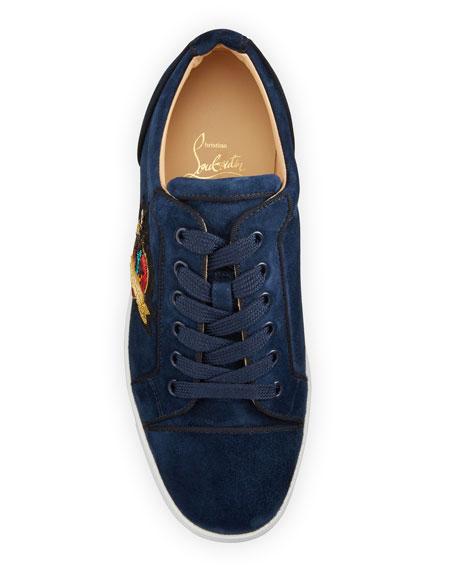 Christian Louboutin Men's Junior Love Suede Low-Top Sneakers