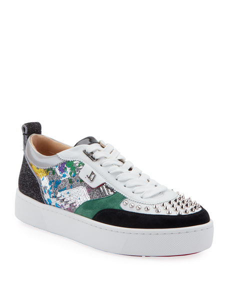 Christian Louboutin Platforms MEN'S HAPPY RUI MIXED-MEDIA PLATFORM SNEAKERS