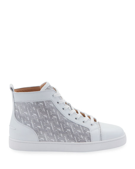 Christian Louboutin Men's Louis Graphic-Print Mid-Top Sneakers