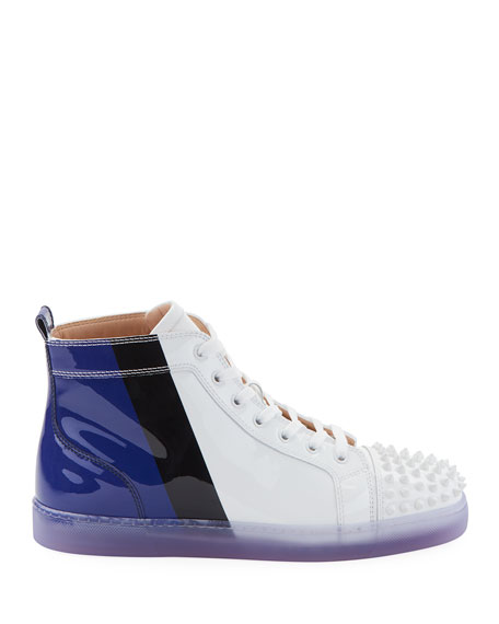 Christian Louboutin Men's Lou Spikes Patent Leather Mid-Top Sneakers