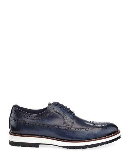 Image 2 of 3: Ike Behar Men's Louis Hybrid Wing-Tip Leather Derby Shoes