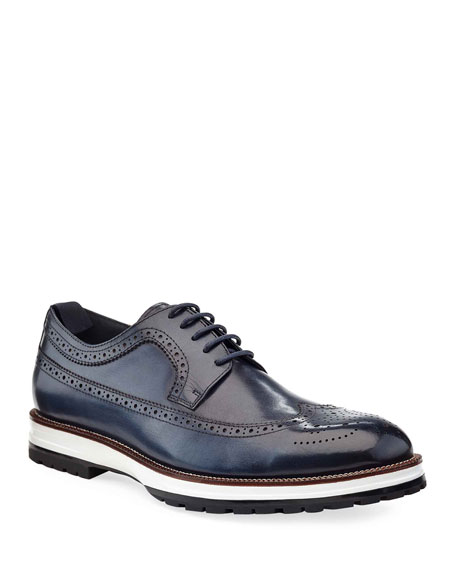 Image 1 of 3: Ike Behar Men's Louis Hybrid Wing-Tip Leather Derby Shoes