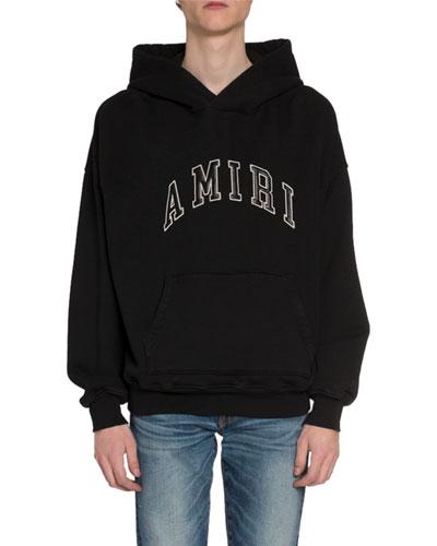 Men's Leather Logo Applique Hoodie
