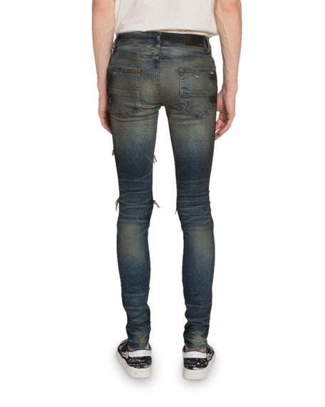 Amiri Men's Cashmere-Patch Skinny Jeans