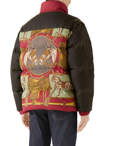 Gucci Men's Baroque-Pattern Puffer Coat