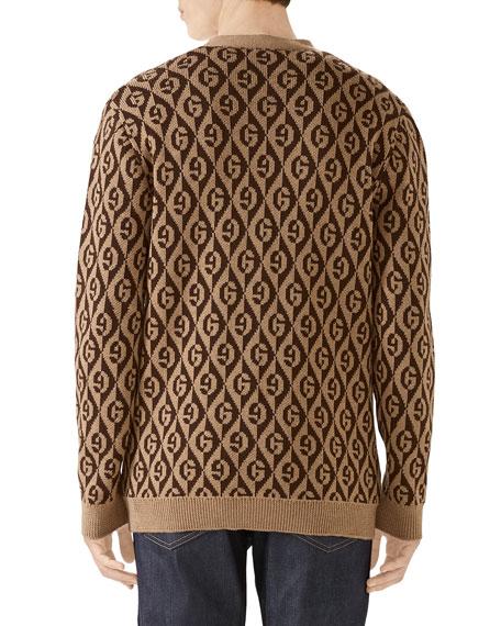 Gucci Men's Rhombus Intarsia-Knit Cardigan Sweater