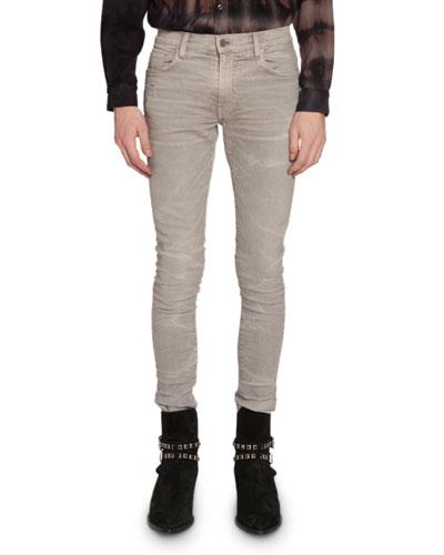 Men's Skinny Whiskered Stretch-Denim Jeans