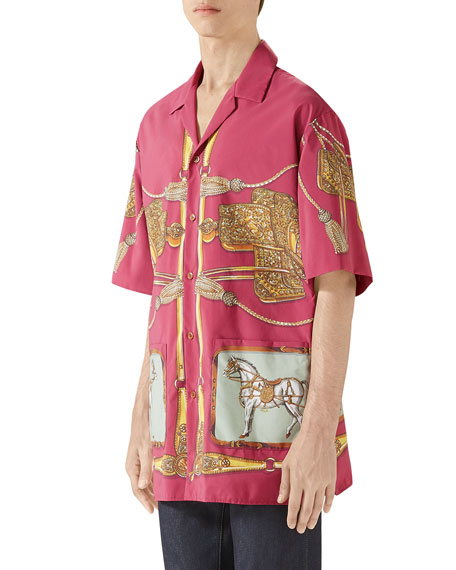Gucci Men's Oversized Baroque Tassel-Print Shirt