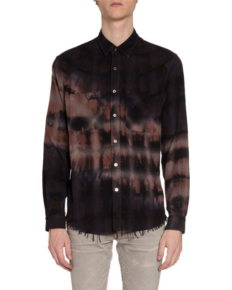 Amiri Men's Bleached Flannel Sport Shirt