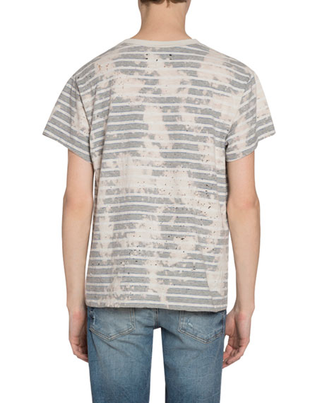 Amiri Men's Bleached Striped T-Shirt