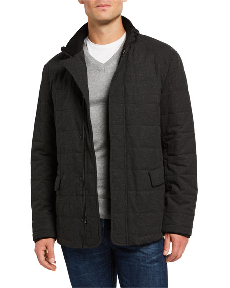 Image 1 of 3: Emporio Armani Men's Quilted Zip-Front Jacket