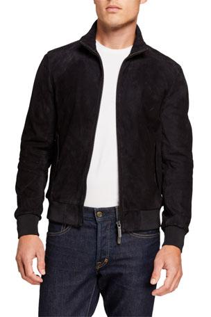 Emporio Armani Men's Suede Zip-Front Bomber Jacket