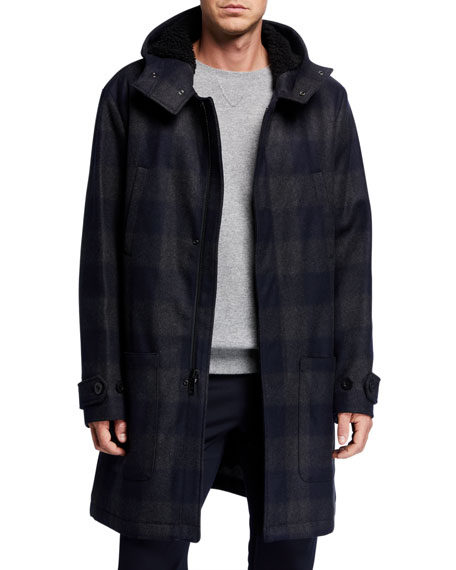 Vince Men's Hooded Plaid Duffle Coat