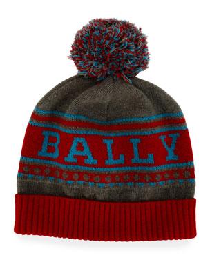 509a33f9 Bally Men's Wool Logo Beanie Hat w/ Pompom
