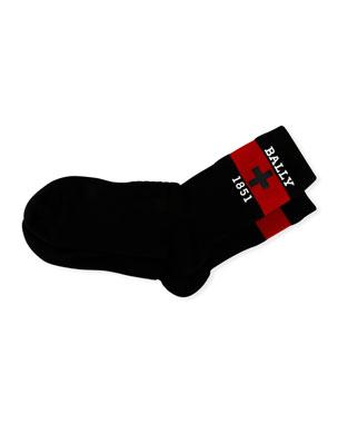 50b52ead Bally Men's 1851 Swiss Logo Banded Tube Socks