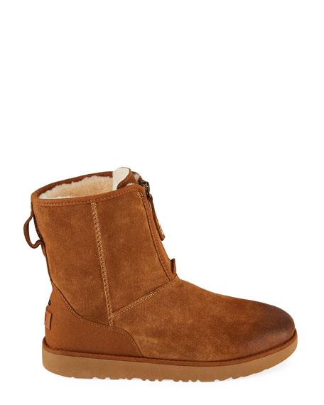 UGG Men's Classic Short Suede Front-Zip Boots