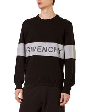 7e96d6533d80 Givenchy Men's Tricolor Logo Sweater