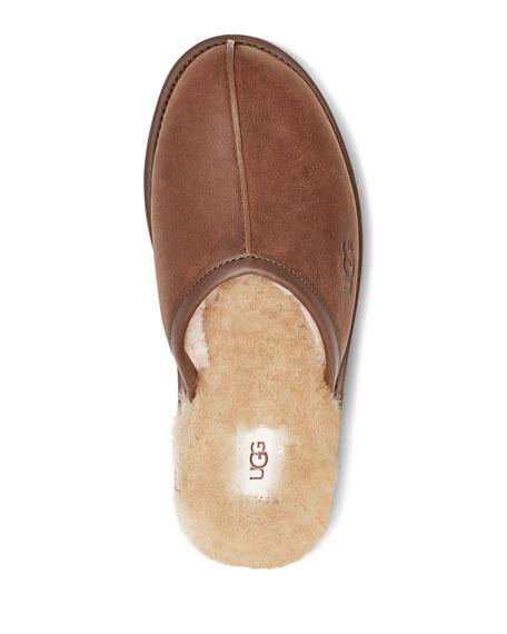 UGG Men's Scuff Leather Mule Slippers w/ Wool Lining
