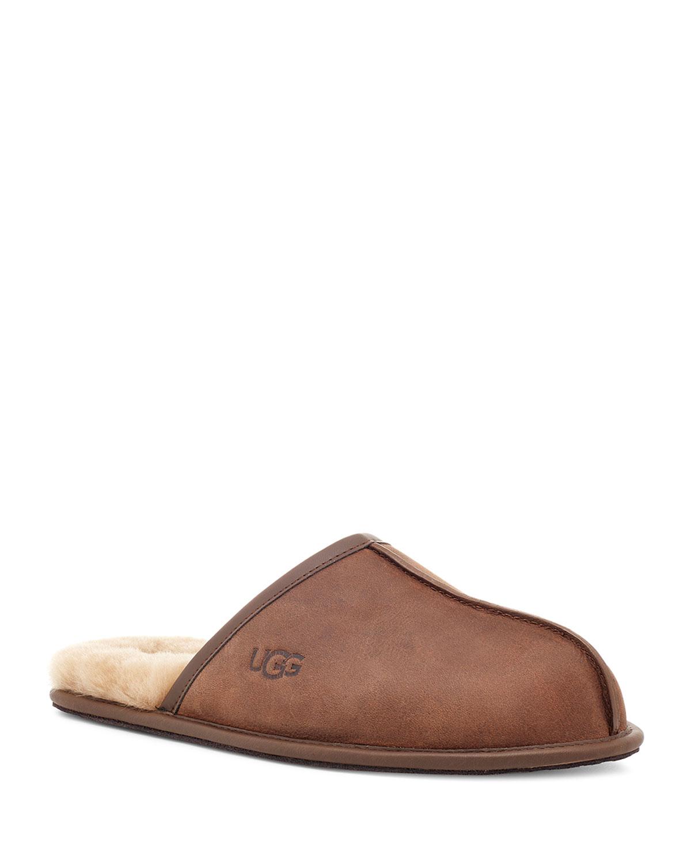 c002f5a9b41 Men's Scuff Leather Mule Slippers w/ Wool Lining