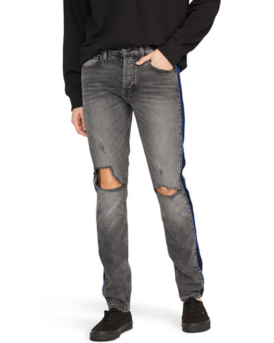 Men's Axl Distressed Jeans w/ Side Stripe