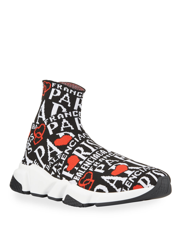 Men's Speed Jacquard Paris Logo Knit Sneakers by Balenciaga