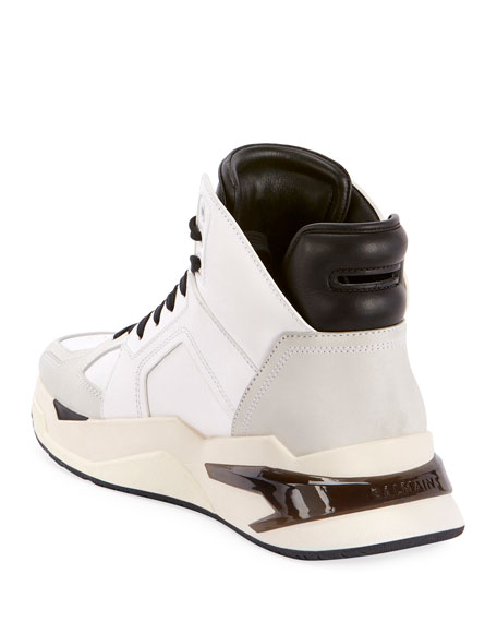Balmain Men's B Ball Leather & Suede High-Top Sneakers