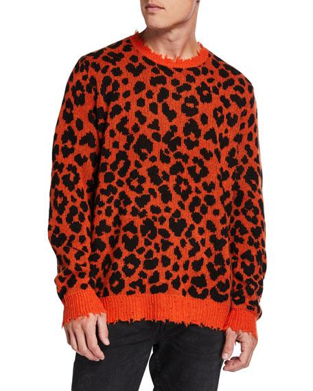 R13 Sweaters MEN'S LEOPARD CASHMERE SWEATER