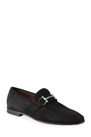 Salvatore Ferragamo Men's Sherman Gancini Suede Loafers
